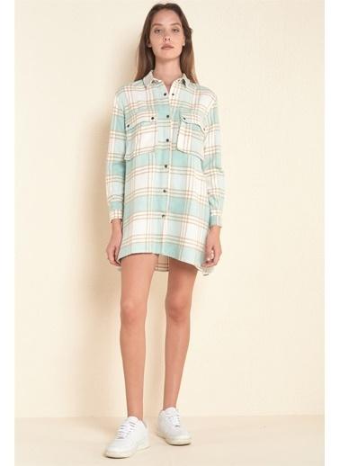 Z Giyim Z Giyim ÇıtÇıt Düğmeli Cepli Oduncu Su i Gömlek Elbise Yeşil
